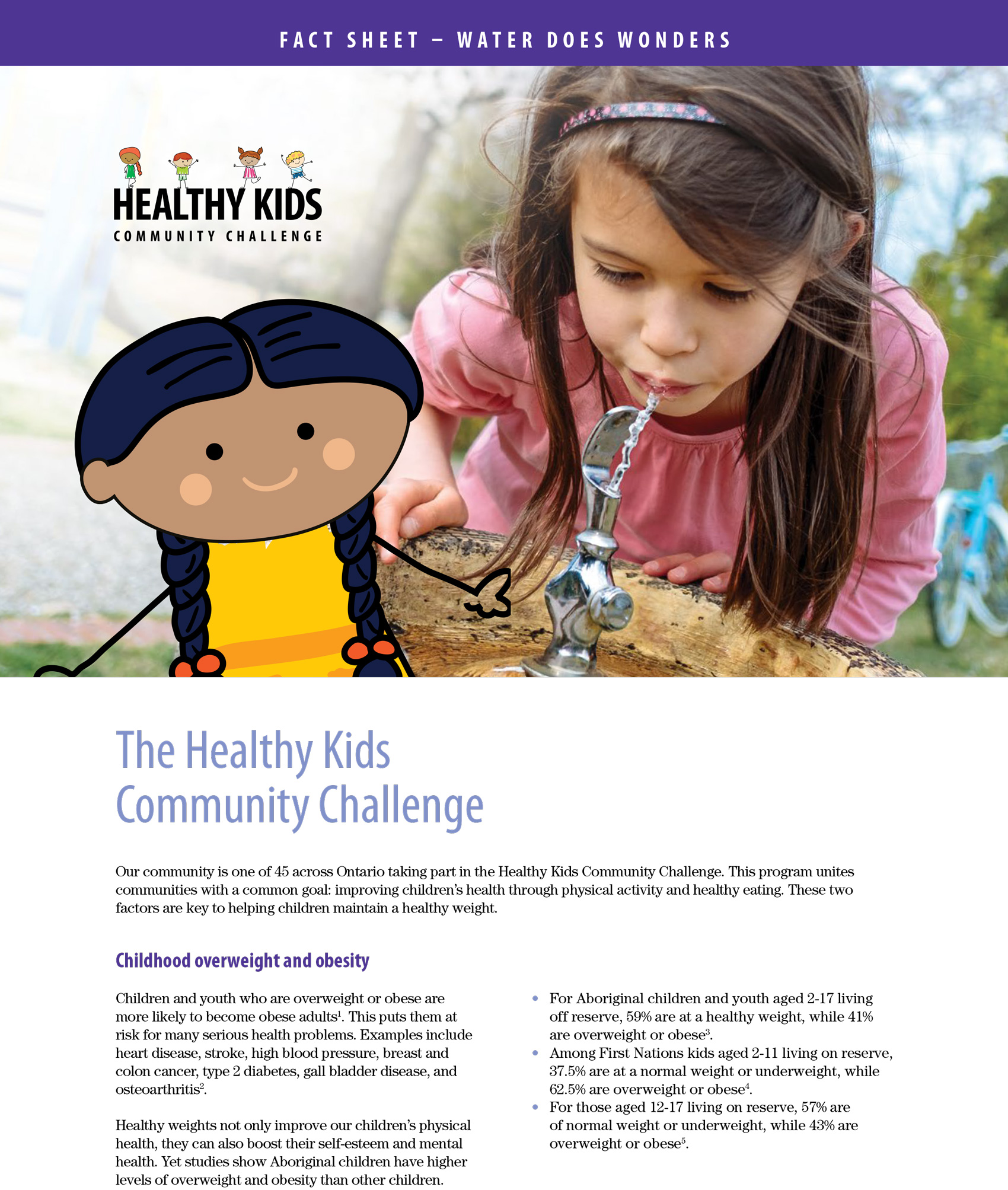 A page of Healthy Kids booklet with a picture of a little girl drinking water at a park.