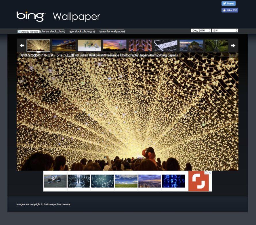 screen capture of bing wallpaper website