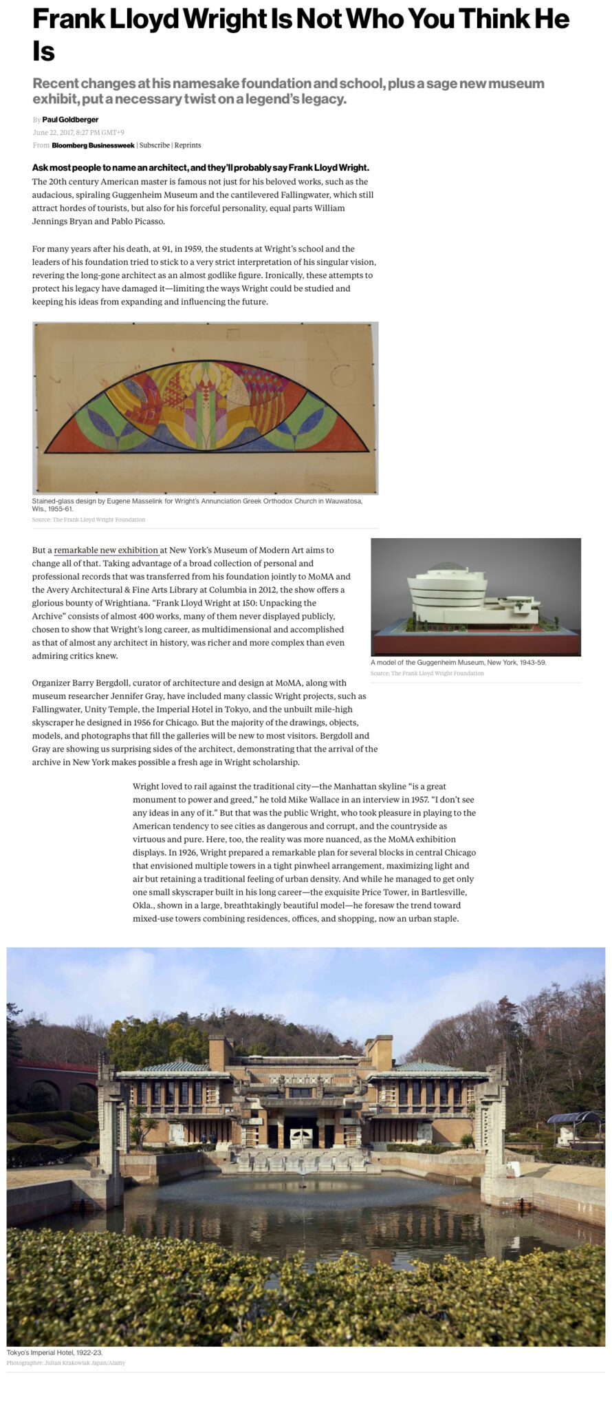 Screenshot of an article about Frank Lloyd Wright published by Bloomberg Pursuits.