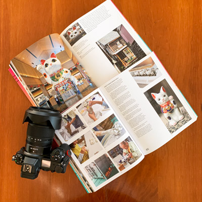 Picture of two open books and Nikon Z6 camera, showing pictures of Maneki Neko cat.