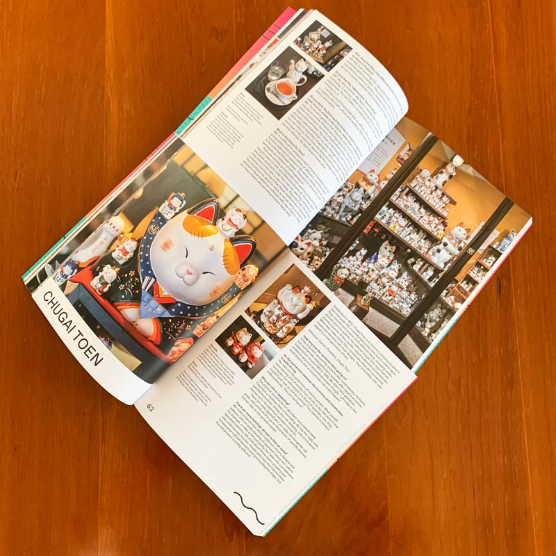 Picture of two open books showing pictures of Maneki Neko cat.