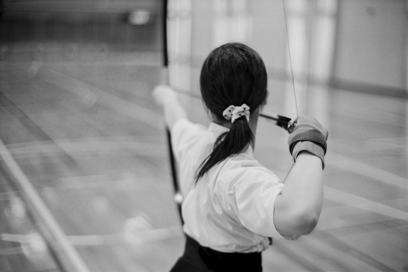 Japanese female archer during practice.